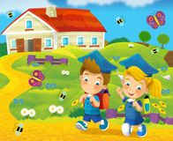 Walking to the school - education - illustration for the children Stock Images