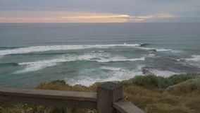 Walking to see the view in Twelve apostles in Australia at sunset, dolly move stock video