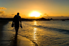 Walking to the sunset. In a sunset scene a man walk on the beach just beside Cape Town, South Africa Stock Photo