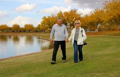 Walking Together in Love and Nature Royalty Free Stock Photography