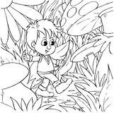 Walking Tom Thumb. Black-and-white illustration (coloring page): Tom Thumb walking in a forest Royalty Free Stock Photography