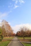 Walking tour in the autumn park. October Royalty Free Stock Photo