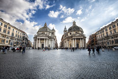 Walking tour Italy. Piazza del Popolo in Rome. Twin churches. Royalty Free Stock Image