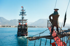 Walking tour on pirate ship in open sea in Alanya stock photography
