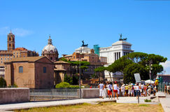 Walking-tour in Roman Forum (Forum Romanum) royalty free stock image