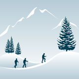 Walking tour in winter. Illustration of 3 people enjoying a walking tour in the snowy mountains Stock Photography