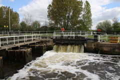 Walking tourism Yorkshire. A canal lock sluice on the South Yorkshire Canal system near Selby Stock Photography