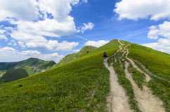 Walking tourist in National park Mala Fatra Royalty Free Stock Image