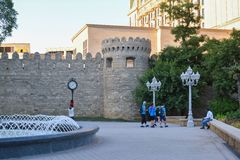 Walking tourists in park, Baku Stock Photos