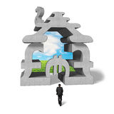Walking toward building stacked by money symbol Stock Photo