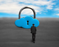 Walking toward cloud shape locker Royalty Free Stock Photography