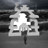 Walking toward concrete money stacking building with tsunami Royalty Free Stock Images