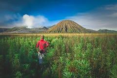 Walking towards Gunung Bromo at dawn Stock Photography