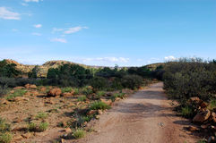 Walking track. Nearby Alice Springs, Nothern Territory, Australia Stock Photos