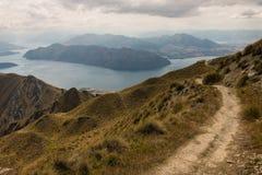 Walking track above lake Wanaka Royalty Free Stock Images