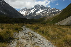 Walking track in Hooker Valley near Mount Cook Royalty Free Stock Image