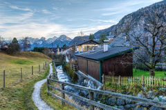 Walking Trail in Austrian Village Stock Photography