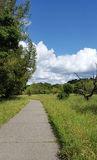 Walking Trail and Clouds. Paved trail on spring day with blue sky and cumulous clouds Royalty Free Stock Photos