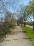 Walking trail in downtown Lafayette Indiana stock photo