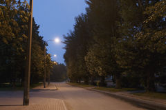 Walking trail in the evening summer park Stock Photo
