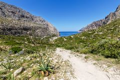 Walking trail to Cala Boquer Stock Images