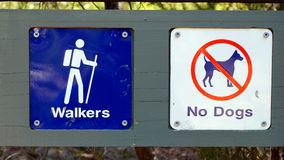 Walking Trail and No Dogs Sign Royalty Free Stock Image