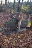 7 km to run or walk. Sign showing hiking trail `7 km`. You can walk or run in this beautiful nature royalty free stock photos