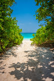 Walking trail to sand beach of Tachai island Royalty Free Stock Images