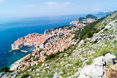 Sdr dubrovnik croatia. Walking Trail from the top of Mount Sdr to Dubrovnik with a great panoramic view stock photos