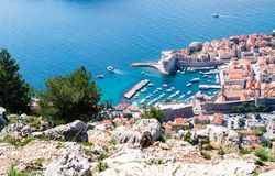 Sdr dubrovnik croatia. Walking Trail from the top of Mount Sdr to Dubrovnik with a great panoramic view royalty free stock photos