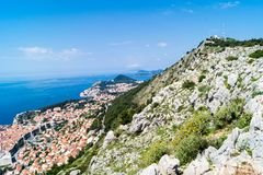 Sdr dubrovnik croatia. Walking Trail from the top of Mount Sdr to Dubrovnik with a great panoramic view royalty free stock image