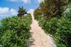 Sdr dubrovnik croatia. Walking Trail from the top of Mount Sdr to Dubrovnik with a great panoramic view stock photo