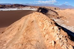 Walking the trail at Valle de la Luna chile Royalty Free Stock Image