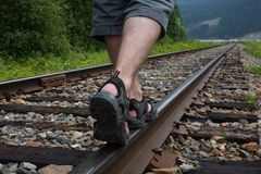 Walking on a train track Stock Photography