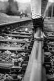 Walking On A Train Track Stock Photo