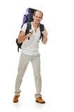Walking travel man Royalty Free Stock Image