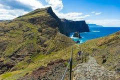 Walking on a trekking path at Ponta de Sao Lourenco, Madeira stock photography