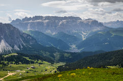 Walking in Trentino Alto Adige - Italy. View of mountains and valley, with some yellow flowers, too stock images