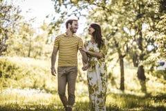 Walking trough nature. Heterosexual couple. Beauty in nature stock photos