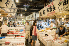 Walking in Tsukiji fish market Japan Stock Photos