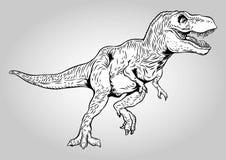 Walking Tyrannosaurus Rex Prehistoric Dinosaurs Vector Illustration