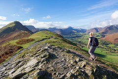 Walking Up Cat Bells in Cumbria, UK Royalty Free Stock Images