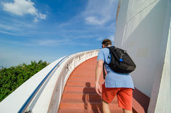 Walking up the stairs. Royalty Free Stock Photo