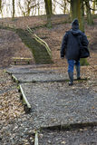 Walking uphill to steps at Tandle Hill, Royton Royalty Free Stock Photography