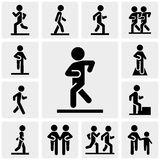 Walking vector icons set on gray Stock Photos