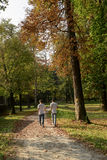 Walking in Villa Reale park, Monza, Italy. Autumnal landscape with two unrecognizable walkers on a foot path in Villa Reale park, shot in early fall in Monza Stock Images