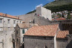 Walking in the Walled City of Dubrovnic in Croatia Europe. Dubrovnik is nicknamed `Pearl of the Adriatic. Dubrovnik is one of the most beautiful towns in the Stock Images