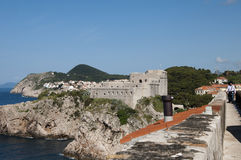 Walking in the Walled City of Dubrovnic in Croatia Europe. Dubrovnik is nicknamed `Pearl of the Adriatic. Dubrovnik is one of the most beautiful towns in the Stock Image