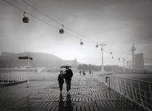 Free Walking Way At Tagus Riverside With Cable Car Railway In Parque Das Nacoes Stock Photography - 134941712
