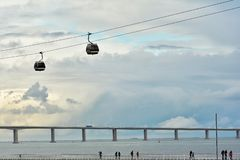 Free Walking Way At Tagus Riverside With Cable Car Railway In Parque Das Nacoes Stock Photography - 134941742
